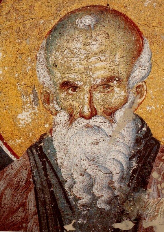 Святой Преподобный Павел Латрийский. Фреска Мануила Панселина в монастыре Протат на Афоне. Конец XIII века.