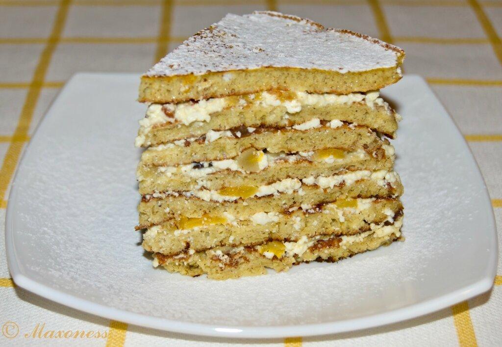 Сладкий блинный пирог. Русская кухня