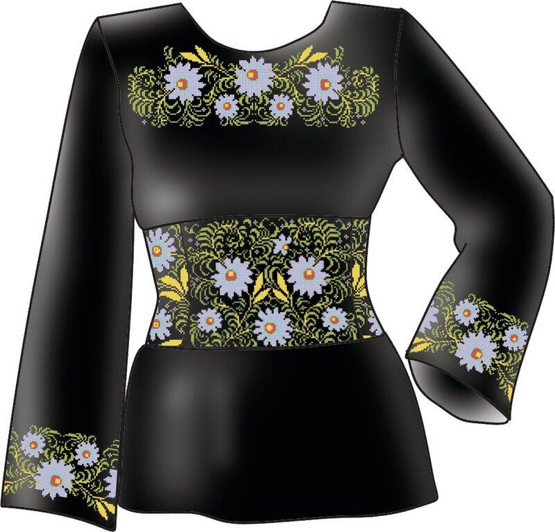 Схема для вышивания женской вышиванки Ромашка с выкройкой F 2603.