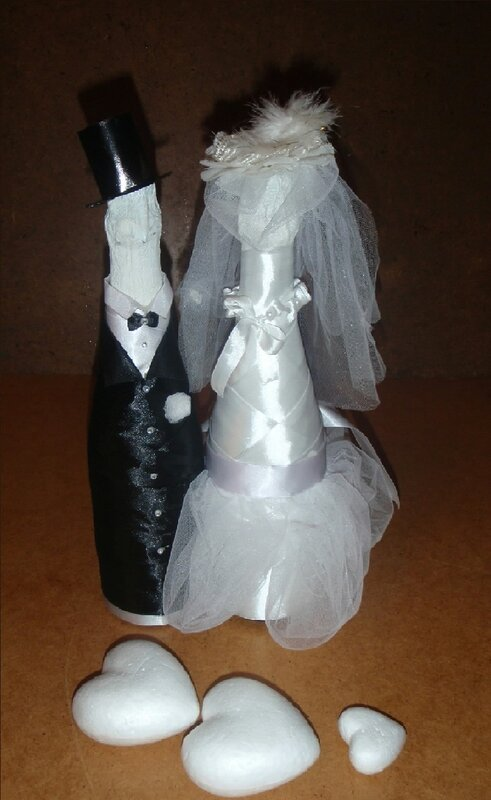 Как украсит бутылки шампанского на свадьбу своими
