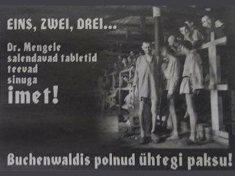 """Eesti Ekspress недавно опубликовала фотографию изможденных узников концлагеря, сопроводив ее надписью, которая в переводе на русский означала: """"Чудесные таблетки похудания от доктора Менгеле""""."""