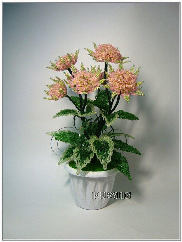 Комнатные цветы из бисера фото новые