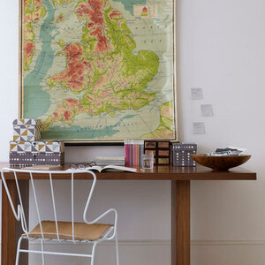 Home office study detail desk and desk tidies vintage map of Britain England and Wales UKWirework metal Margaret Howell chair books open book glasses L etc 02/2008 Pub Orig
