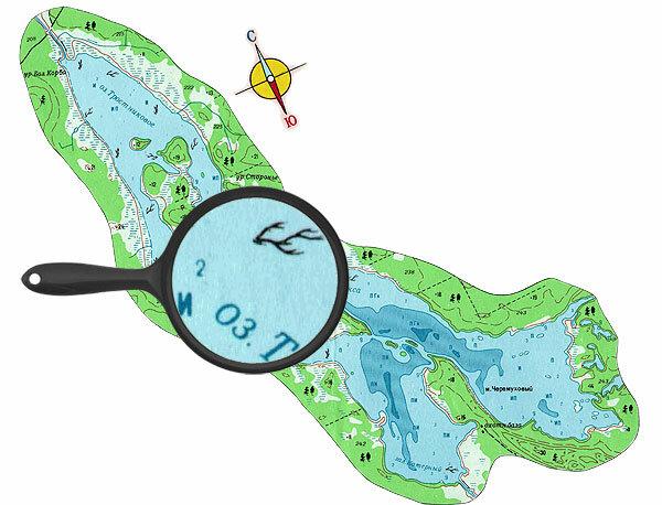 Карта глубин озера Тростниковое