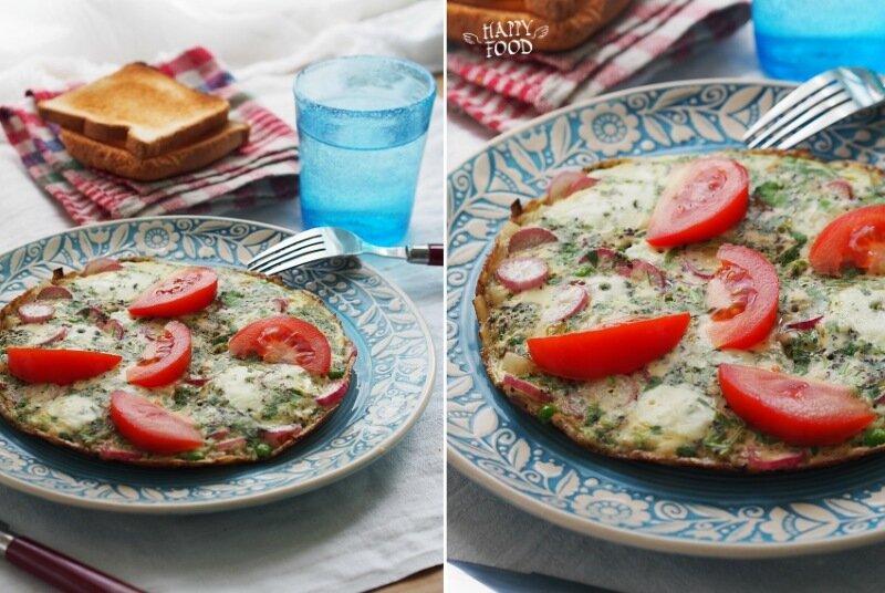 Омлет с редисом и зеленым горошком
