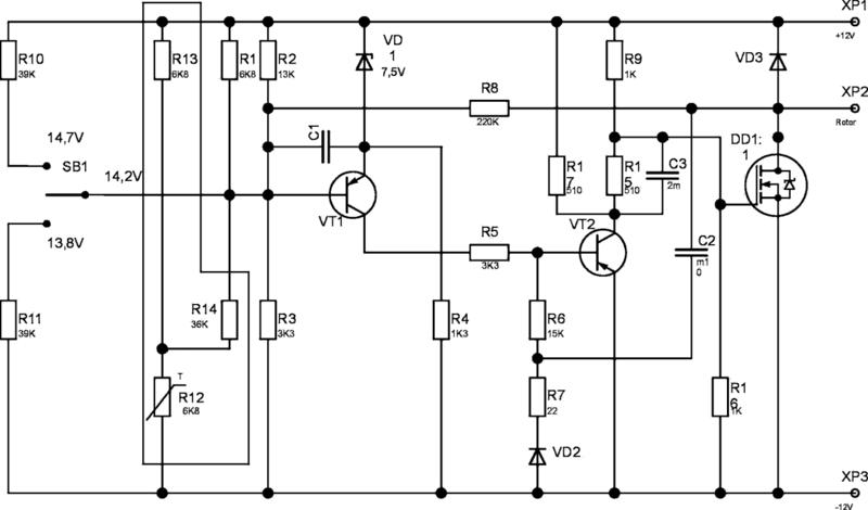 Схема трехуровневого регулятора напряжения