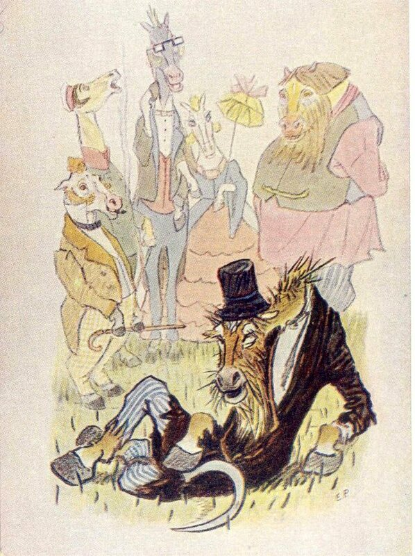 """Худ.  Е.М.Рачев.  1957. Иллюстрация к сказке М.Е.Салтыкова-Щедрина  """"Коняга """" ."""