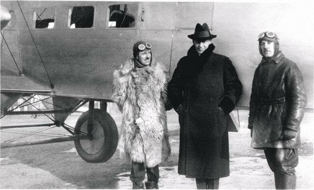 Baron Soloviev, Sergei Rachmaninov, Igor Sikorsky at Roosevelt Field, Long Island, New York, 1924.