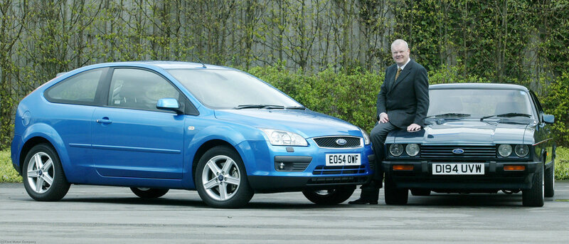 Richard Parry-Jones with 2005 Ford Focus and 1987 Ford Capri