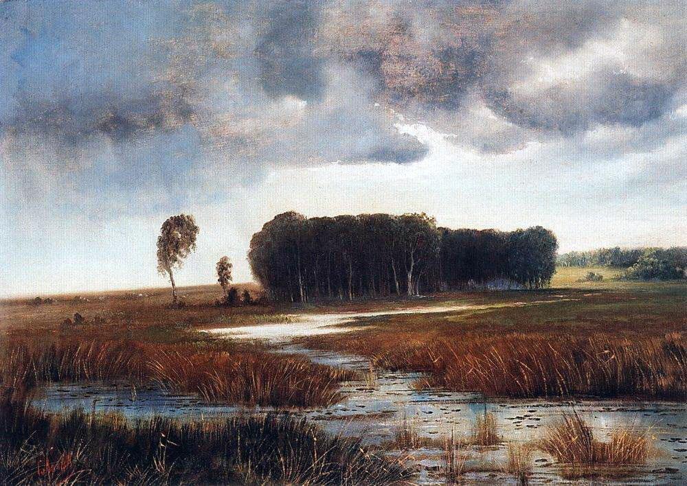 Пейзаж с болотом и лесистым островом. Конец 1860-х - начало 1870-х.jpg