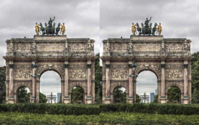 Париж. Стереопара, перекрёстная стереопара, 3D, X3D, стерео фото, crossstereopairs, stereo photo, stereoview