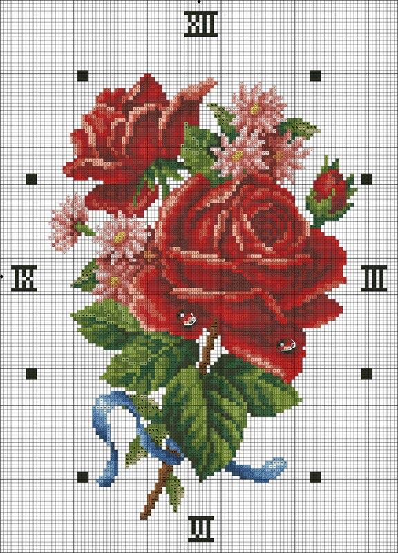 Схема вышивки крестом - Часы Букет с красной розой.