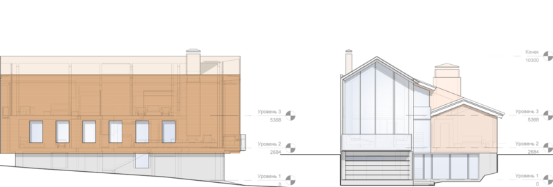 Фасад жилого дома на 350кв.м, предполагается оформить фасады негорючими панелями с матовой поверхностью с стойким антивандальным покрытием имитирующим текстуру темного дерева