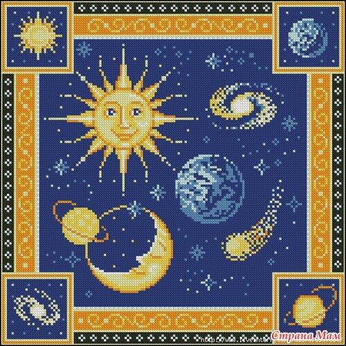Чего только нет в необъятном космосе - Солнце, Луна, Сатурн, комета и конечно наша родная планета - Земля.