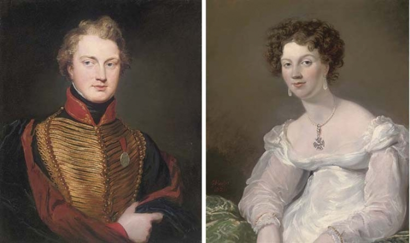 Portrait of Sir James Robertson Bruce, half-length, in military uniform wearing the Wellington medal; and Portrait of Ellen Bamford Hesketh