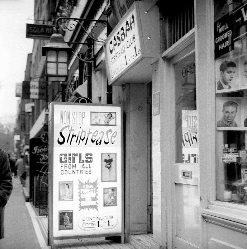 London Scenes - Soho - Casbah Striptease Club - 1966