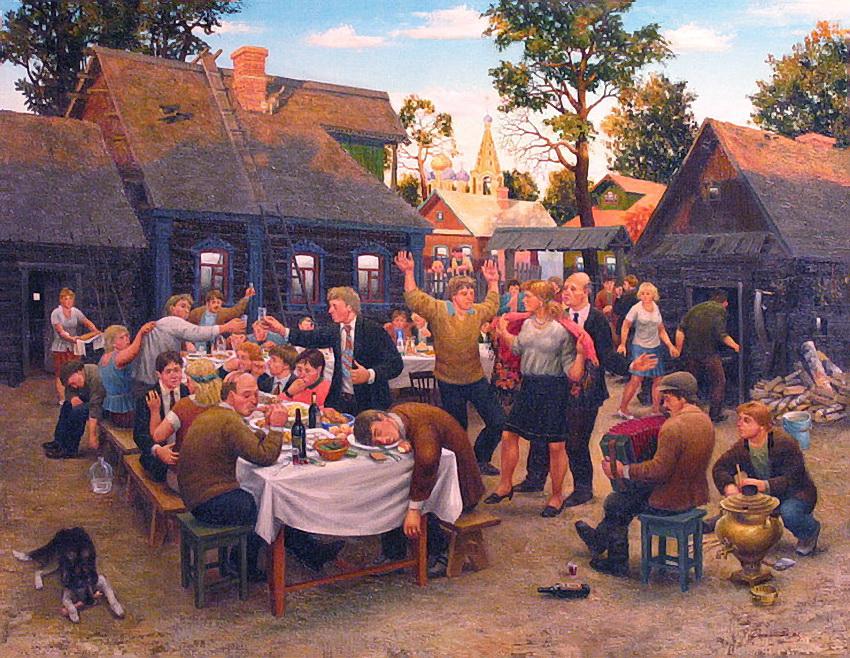 Картинка застолье в деревне, ораза айт казахском