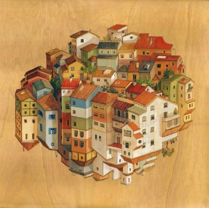 Все картины изэтой «антигравитационной» серии написаны акриловыми красками надеревянной основе.