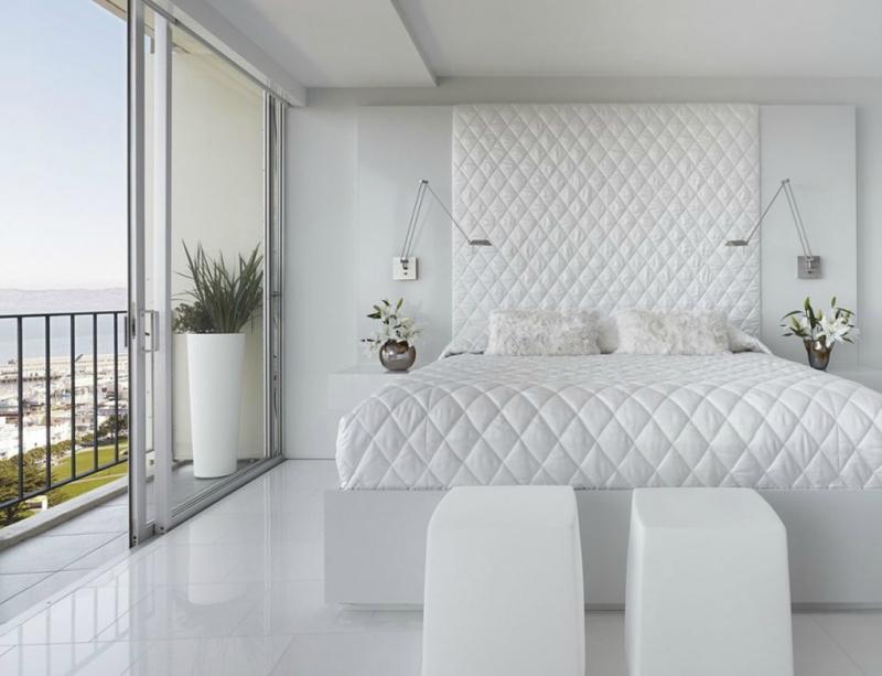 Белый цвет в интерьере спальни фото (7)