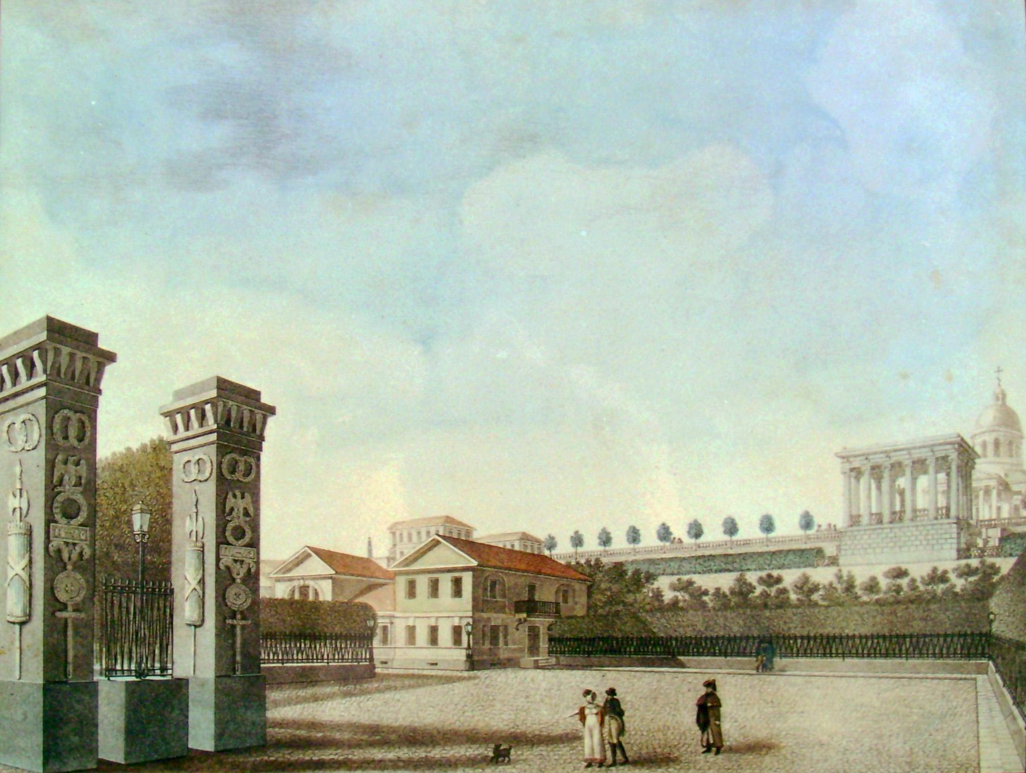 6. Вид Площади у моста при въезде от Города Тихвина. Рисовал на камне Архитектор Семенов 1821 года.