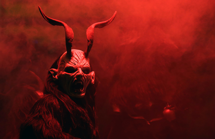 A man dressed as a devil performs during a Krampus show in the southern Bohemian town of Kaplice on