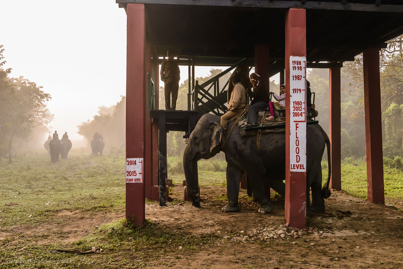 Фото 3. Река Брахмапутра не раз приносила большие неприятности жителям штата Ассам. Станция для посадки туристов на спины слонов в Казиранге. 1/400, -0.67, 8.0, 2500, 36. Никон 24-70/2,8