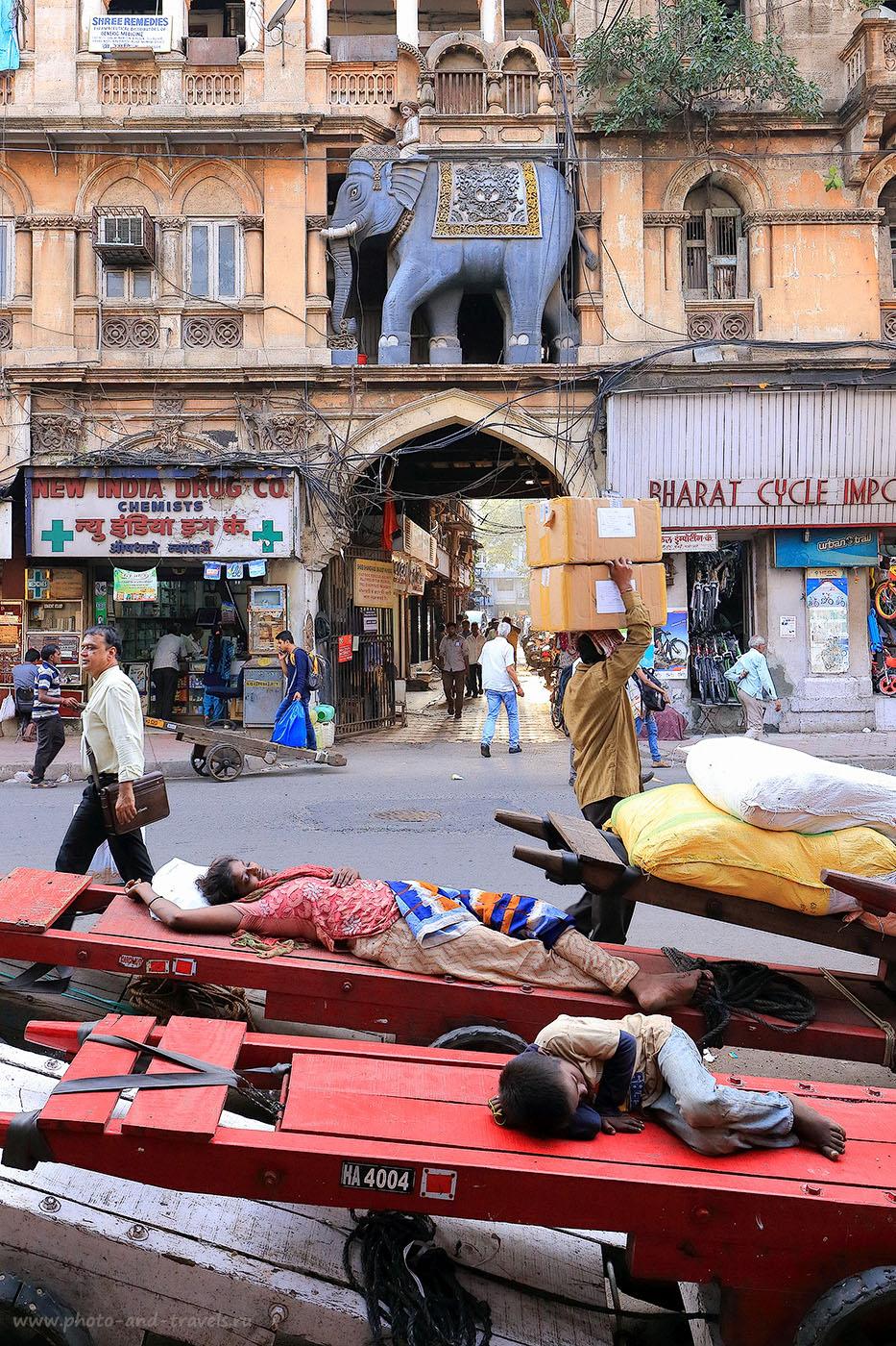Фотография 5. Тачки со спящими людьми в Мумбаи. Самостоятельный отдых в Индии (24-70, 1/160, -1eV, f8, 24 mm, ISO 640)