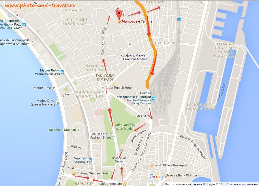 Карта со схемой как пройти к храму Мумба Деви в Мумбаи.