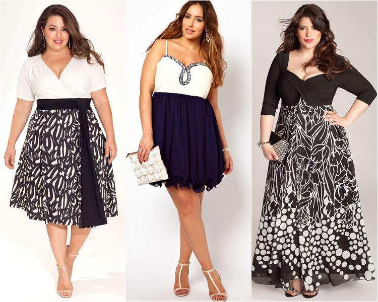 Платья с контрастными лифом и юбкой для полных 2016