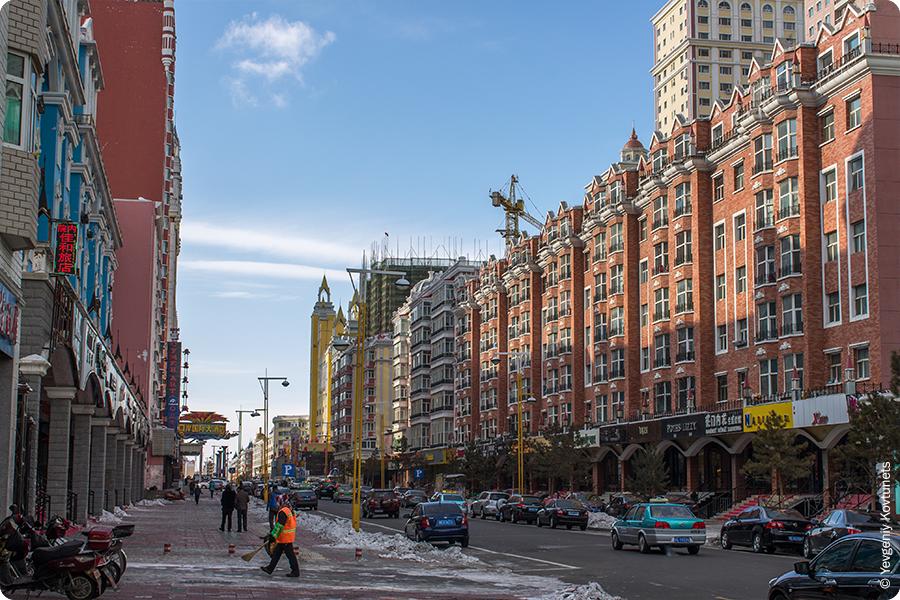 дома впритык, европейские сплошные улицы Маньчжурии