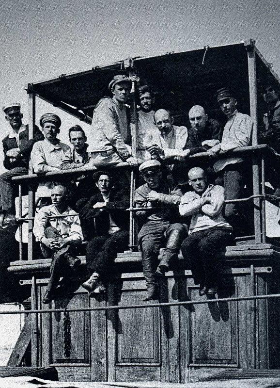 Felix Dzerzhinsky among officers of the Cheka on board the steamboat 'Nestor-Chronicler' in the port of Odessa, June 1921.