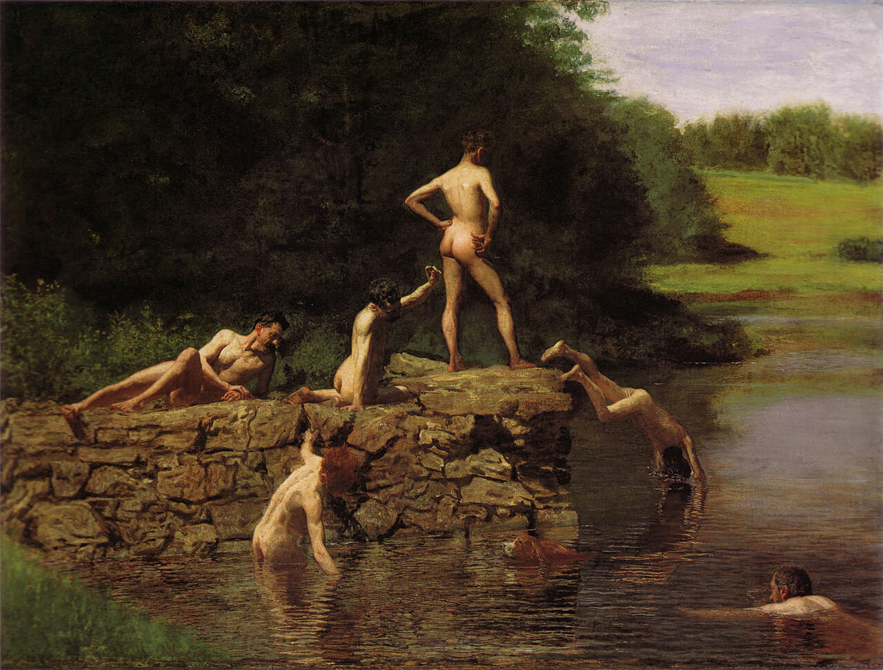 This painting was painted using the pictures of his art students bathing in the nude by Thomas Eakins (1844–1916)_Amon Carter Museum of American Art