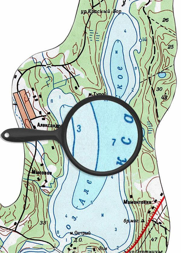 Карта глубин озера Александровское