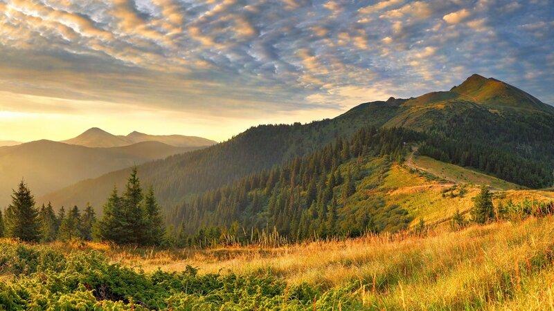 Картинка свет, облака, пейзажи, холмы, широкоформатные обои для рабочего стола, облако, природа, горы, фото, трава, утро 1280x72