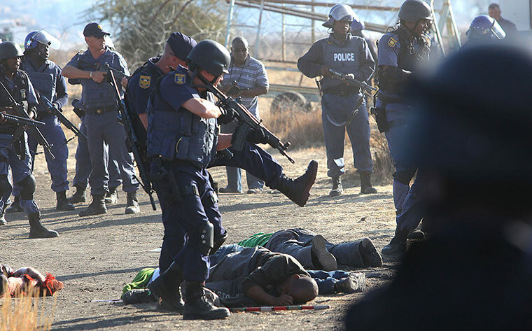 South Afria Police shoot striking miners