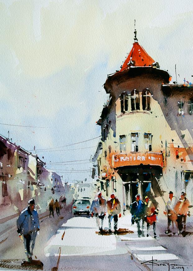Румынский акварелист Corneliu Drăgan-Târgoviște