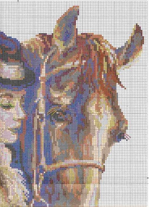 свой цитатник или сообщество!  Девушка с лошадью.  Вышивка крестом.  Прочитать целикомВ.