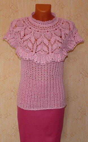 Блузка на кокетке крючком схема