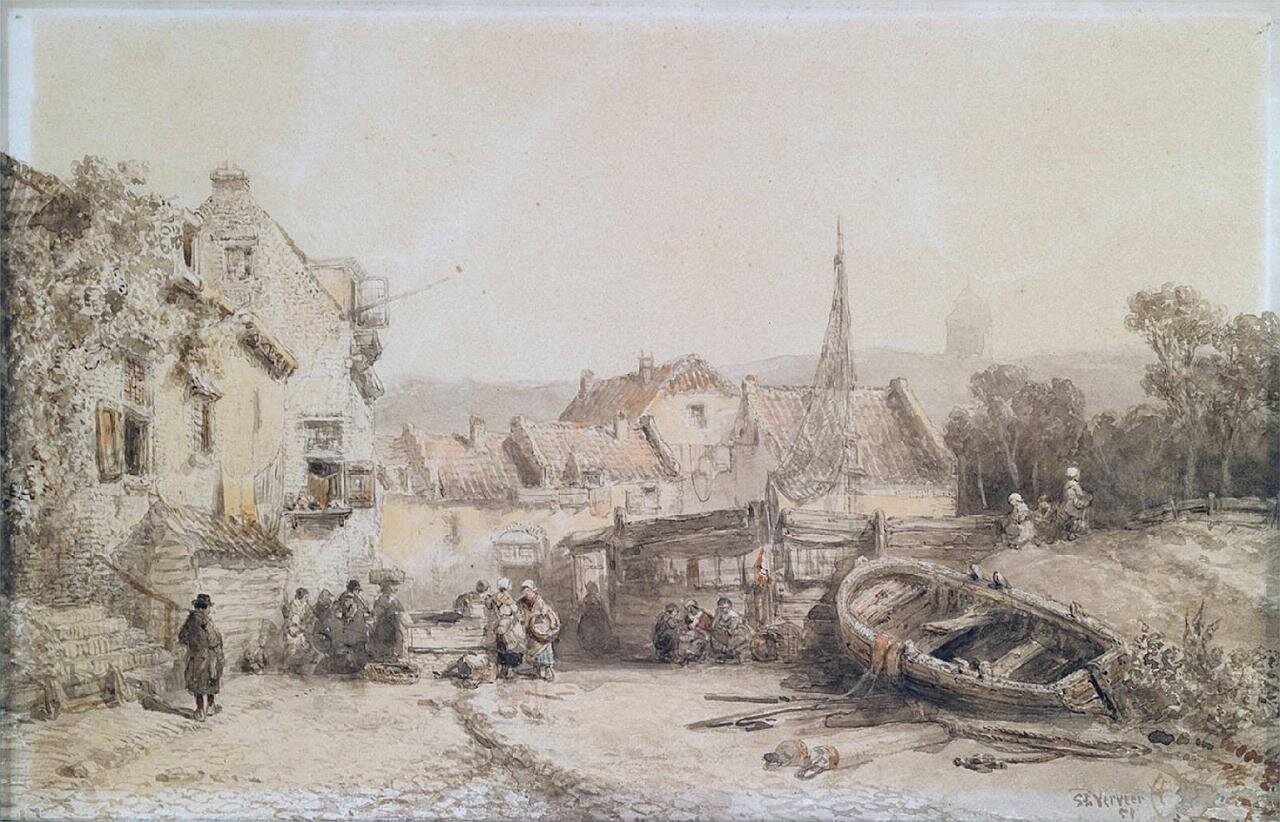 Figures in a fishing town, 1851, by Salomon Leonardus Verveer (1813-1876).