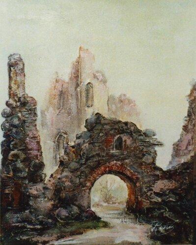 Картина с видом развалин замка