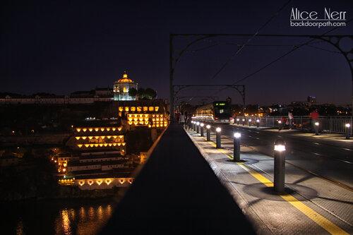 night at the bridge in Oporto