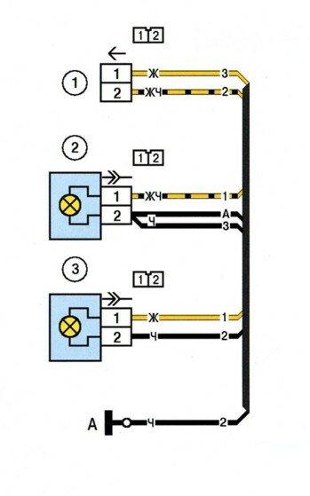"""Схема электрических соединений жгута проводов противотуманных фар (комплектация  """"люкс """") ."""