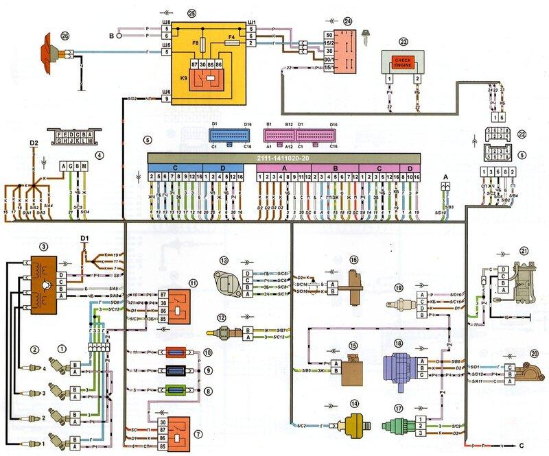 1 - форсунки; 2 - свечи зажигания; 3 - модуль зажигания; 4 - колодка диагностики; 5 - контроллер; 6 - колодка...