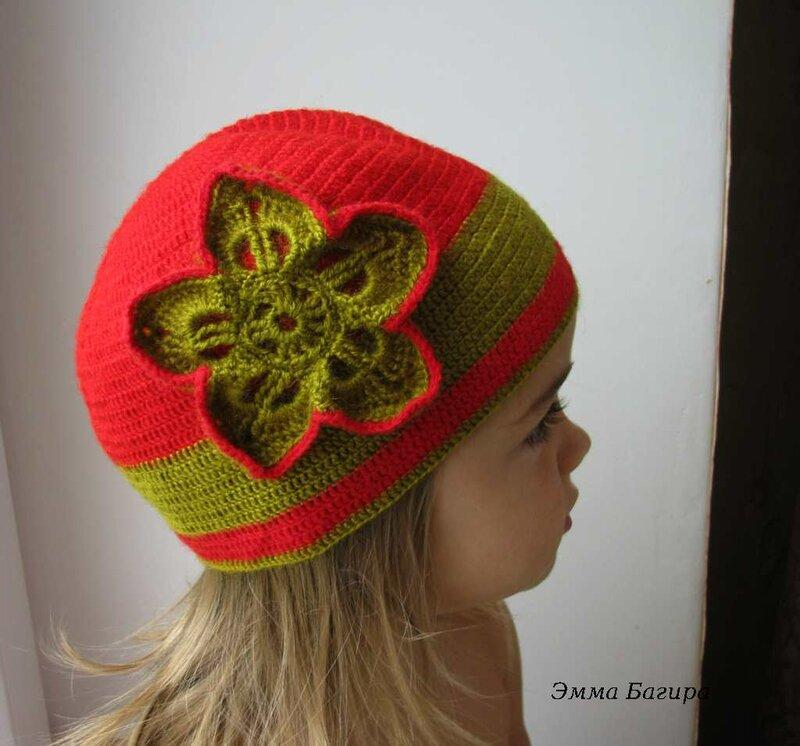 Вязание крючком шапочка для девочки для осень 86