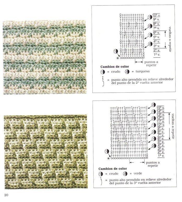 Схемы вязания крючком двухцветного вязания