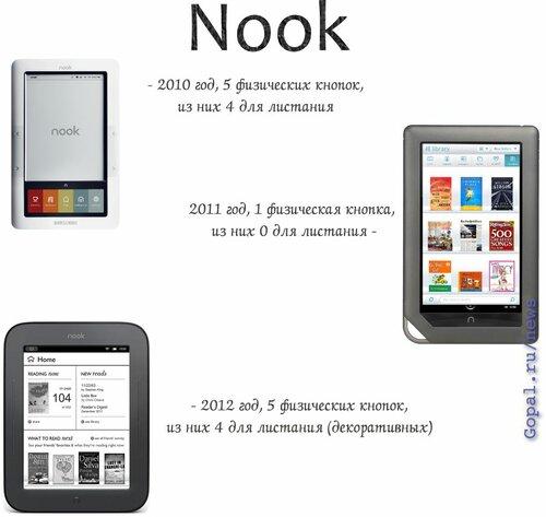Nook в своей последней модели сохранил кнопки листания, к сжалению, пользоваться ими почти невозможно: тугие и узкие, декоративные