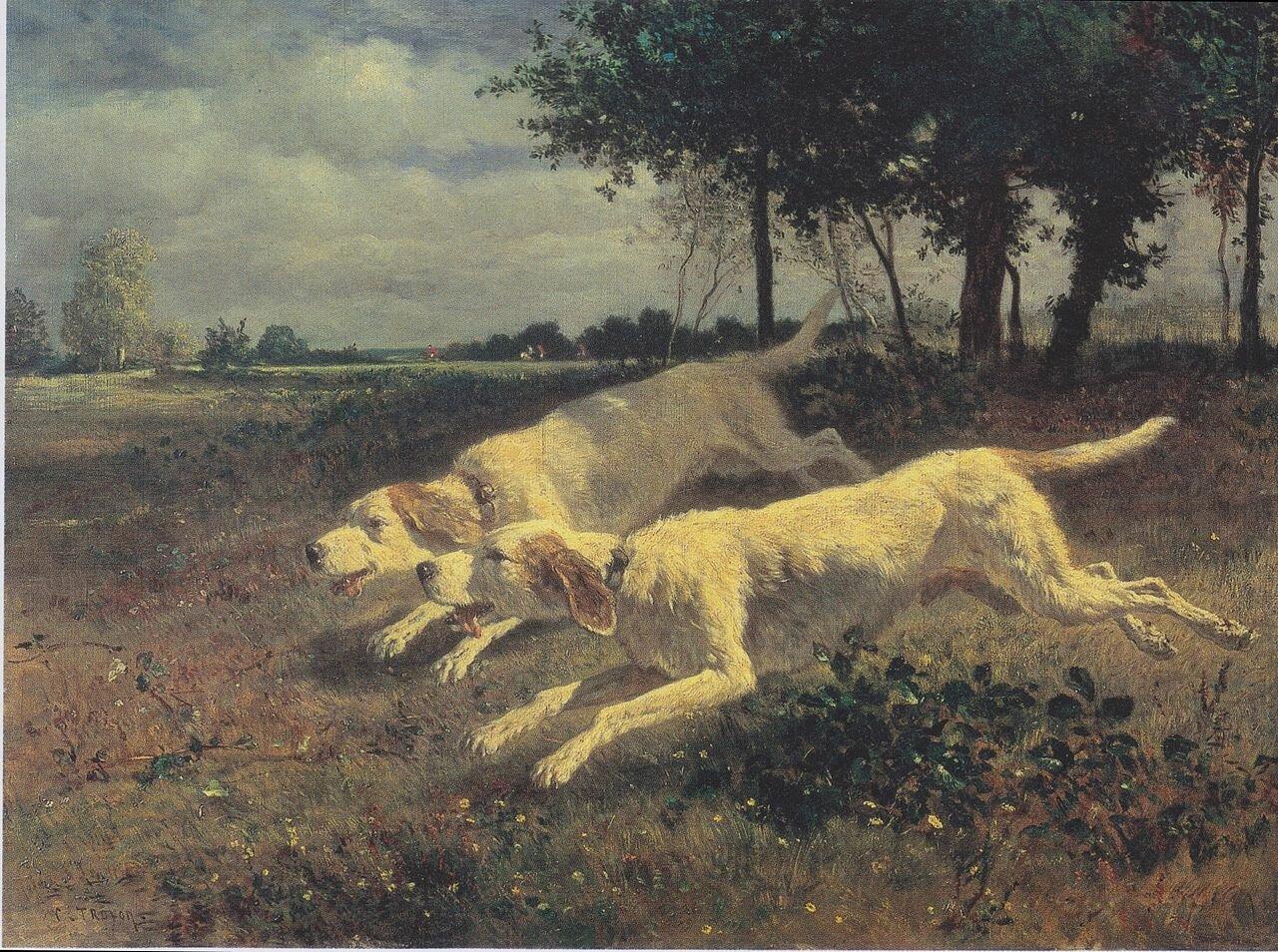Бегущие собаки (1853), масло на холсте, Труайон, Констан(1810–1865); ГМИИ им. Пушкина