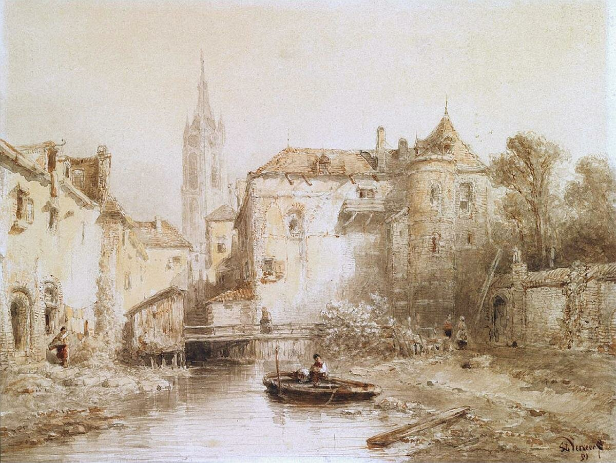 A view of a town with a bell tower, 1851, Salomon Leonardus Verveer (1813-1876).