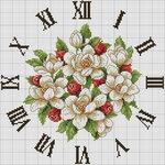 """Схема вышивки  """"Часы  """"Цветы и ягоды."""