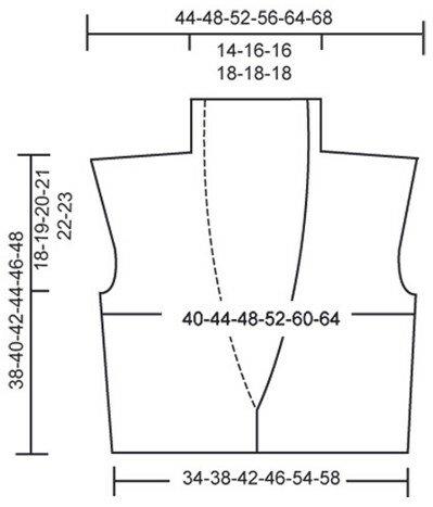 Жилет с шалевым воротником связан спицами 9. Схема вязания жилета спицами.